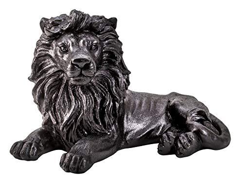 Lifestyle & More Moderne Skulptur Dekofigur Löwe aus Kunststein schwarz glitzernd liegend 52x32 cm