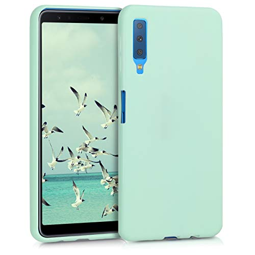 kwmobile Funda Compatible con Samsung Galaxy A7 (2018) - Carcasa de TPU Silicona - Protector Trasero en Menta Mate