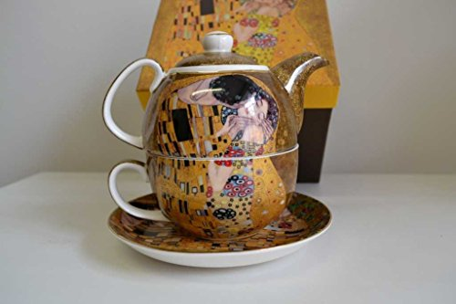Atelier Harmony Gustav Klimt Tee for One Der Kuss Porzellan mit Geschenkbox NEU Limited Collection (Beige/Gold)