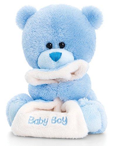 Lashuma Plüschtier Teddy, Pipp The Bear Kuscheltier Baby Boy mit Schmusedecke Hell Blau, Stofftier 14 cm