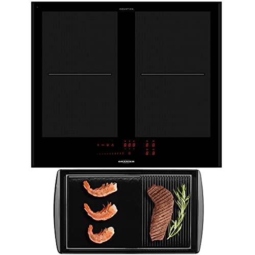 Oranier autarkes Flächeninduktionskochfeld 60 cm - großes Vollflächeninduktionskochfeld FLI 2064 SL schwarze Seitenleisten & Grillplatte