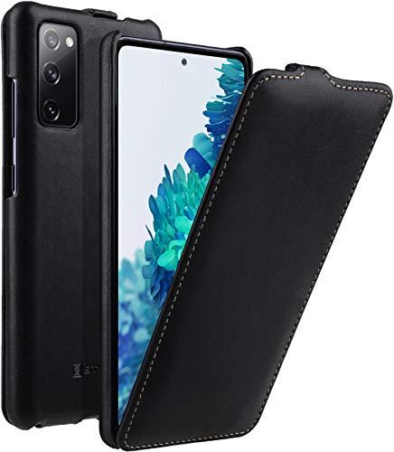 StilGut UltraSlim kompatibel mit Samsung Galaxy S20 FE Hülle - Samsung S20 FE Flip Hülle aus Leder, Klapphülle, Handyhülle, Lederhülle - Schwarz Nappa