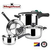 MAGEFESA – Batería de Cocina MAGEFESA Style 4 Piezas + Olla presión Dynamic 6L Fabricada en Acero Inoxidable. Fácil Limpieza y Apta lavavajillas. Asas de bakelita. Apta INDUCCIÓN.