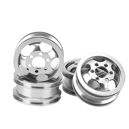 Cubo de llantas de rueda de coche de 4 piezas, cubo de llantas de rueda de coche RC de aleación de aluminio con adaptador corto accesorios de llanta de rueda de vehículo RC para WPL 1/16(plata)