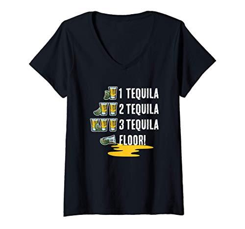Damen 1 Tequila 2 Tequila 3 Tequila Floor! Cinco De Mayo T-Shirt mit V-Ausschnitt