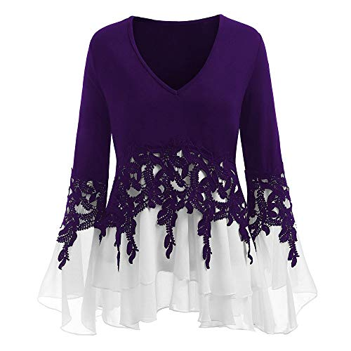 OTTATAT Casual Tops for Womens,2020 Autumn V-Neck Applique Flowy Chiffon Long Sleeve Loose Slim Lace Panel Plus Size Costume Blouse Fashion Trendy Stylish Home Party Shirts Tees Sweatshirts T-Shirt