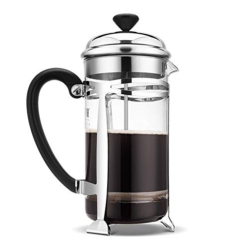 Vobajf Caffettiere a pistone Pressione Francese Coffee Pot a Mano in Acciaio Inossidabile 304 Filtro 600ml Pressione Francese Pot cafetieres (Colore : Stainless Steel, Size : 600ml)