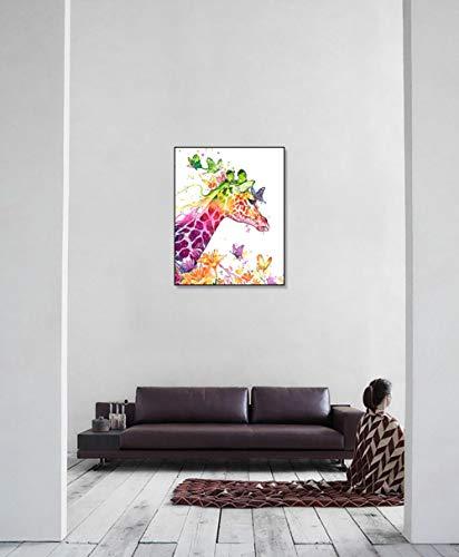 DIY Schilderen op nummerkinderen schilderen kitKleurrijk giraf handgeschilderd frameloos schilderij 40x50cm