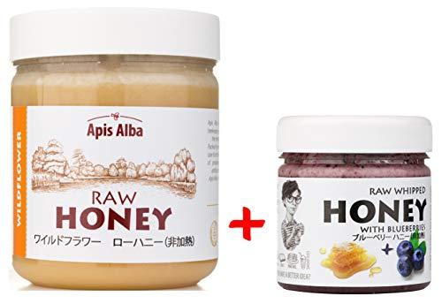 【Amazon.co.jp限定】 はちみつ 蜂蜜 ハチミツ 生 2個組 セット (ブルーベリーハニー200g、ワイルドフラワーハニー624g) Raw Honey Set Blueberry 200g & Wildflower Raw Honey 624g