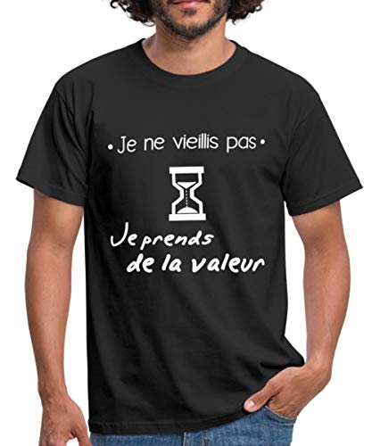 Spreadshirt Anniversaire Je Ne Vieillis Pas T-Shirt Homme, XL, Noir