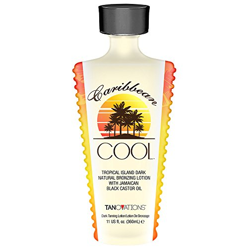 Caribbean Cool, Natural Bronzer, Tanning Lotion with Jamaican Black Castor Oil 11 Ounce.
