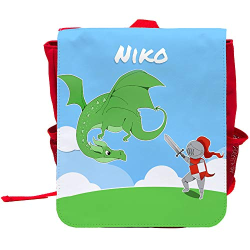 Kinder-Rucksack mit Namen Niko und schönem Motiv mit Ritter und Drache für Jungen