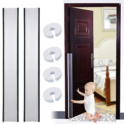 Door Finger Pinch Guard 4pk, Door Hinge Guard 2pk Outgeek Doors Protectors Prevents Finger Pinch Injuries Baby Proofing for Flush Door Hinges, Gates,Pivot Doors