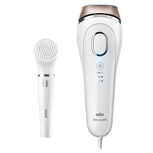 Braun Silk·Expert 5 IPL Hair Removal BD 5008, Blanco/Bronce, Permanente Visible Hair Removal at Home for Body and Face, Corded for Non-top Use + Face Cleansing Brush