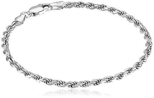 Amazon Essentials Sterling Silver Diamond-Cut Rope Chain Link Bracelet, 7