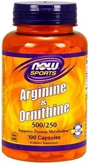 [海外直送品] ナウフーズ  - Lアルギニンおよびオルニチン 500/250 mg - 100カプセル