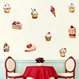 Pastel de helado etiqueta de la pared decoraciones de fiesta de cumpleaños para la tienda de golosinas ventana vinilo bricolaje refrigerador mural decoración del hogar