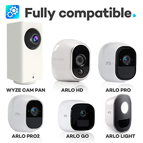 Quarble 3Pack Wall Mount Compatible with Wyze Cam Pan, Arlo, Arlo Pro, Arlo Pro 2, Arlo Go & Arlo Lights,360 Degree Adjustable Indoor Outdoor Mount