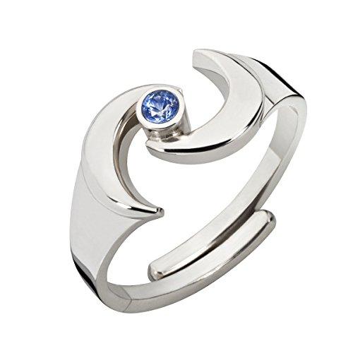 Collection Inner Light Ring der ErDGÖTTIN - Anillo con piedras preciosas azules de zafiro, flexible, hecho a mano, plata de ley 925