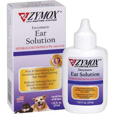 Zymox Otic Enzymatic Ear Solution for Dogs and Cats to Soothe Ear Infections with 0.5% Hydrocortisone for Itch Relief, 1.25oz