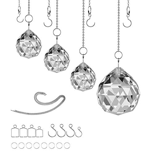MerryNine Clear TOP K9 Crystal Prism Ball Pendant kit Sun Shine Catcher Rainbow Pendants Maker, Hanging Crystals Prisms with Beautiful Chain