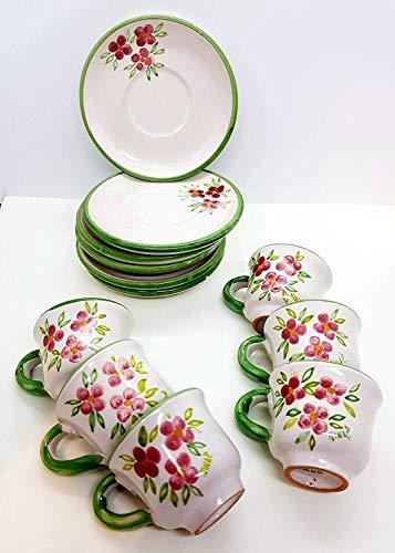 6 Tazzine da caffè + 6 Piattini Coordinati Linea Fiori Rosa Bordo Verde Ceramica Handmade Le Ceramiche del Castello Made in Italy Dimensioni H 5,20 x L 8,30 cm. cadauna