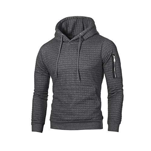 Hey Shop Herren Herbst Winter Casual Warm Langarm Trichter Kragen Plaid Jacquard Pullover Hooded Top Gr. L, dunkelgrau
