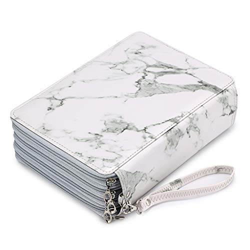 BTSKY 200 Slots Colored Pencil Organizer - Deluxe PU Leather Pencil Case Holder With Removal Handle Strap Pencil Box Large for Colored Pencils Watercolor Pencils White Marble