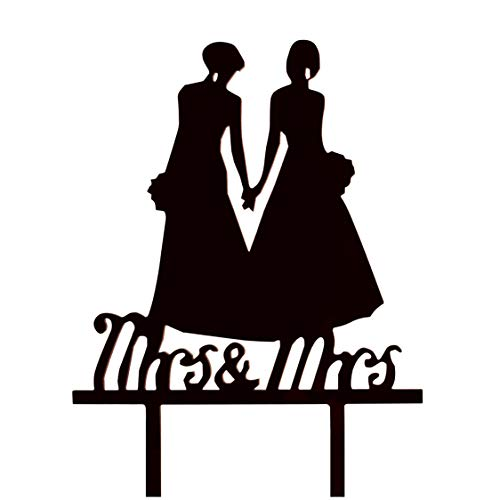 JennyGems - Same Sex Couple Mrs & Mrs Holding Hands - Silhouette Couple Bride and Bride Wedding Party Decorations - Civil Union- Hers & Hers Lesbian Marriage - LGBT