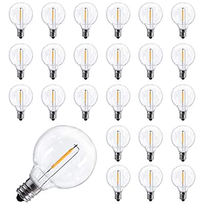 Moonflor 25-Pack Shatterproof LED G40 Replacement Bulbs, E12 Screw Base LED Globe Light Bulbs for Outdoor Patio String Lights, Equivalent to 5-Watt Clear Light Bulbs