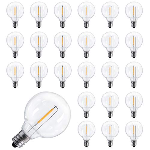 25 Pack Shatterproof Led G40 Replacement Bulbs 1W Per Bulb, E12 Screw Base LED Globe Light Bulbs for Indoor Outdoor Patio String Lights