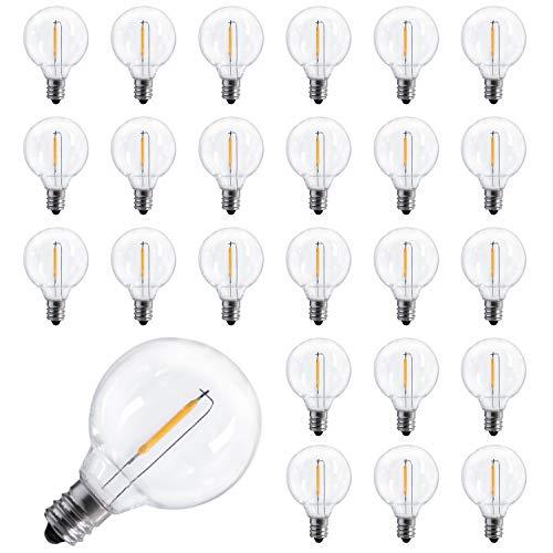 25-Pack Shatterproof LED G40 Replacement Bulbs, E12 Screw Base LED Globe Light Bulbs for Patio Garden String Lights, Equivalent to 5-Watt Clear Light Bulbs