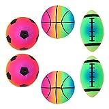BESPORTBLE 6 Pièces Sports Arc-en-Boules Colorées Enfants De Rugby Ballon De Football Gonflable Balles de Jeu Jouets Jeu Multicolore Videur pour L'extérieur Et Intérieur