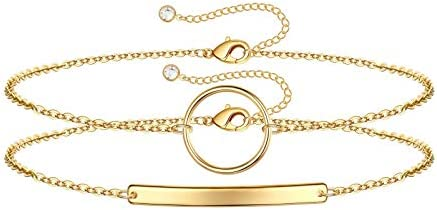 Dainty Layered Bracelets for Women 14K Gold Filled Tiny Layering Bar Chain Bracelet Ajustable product image