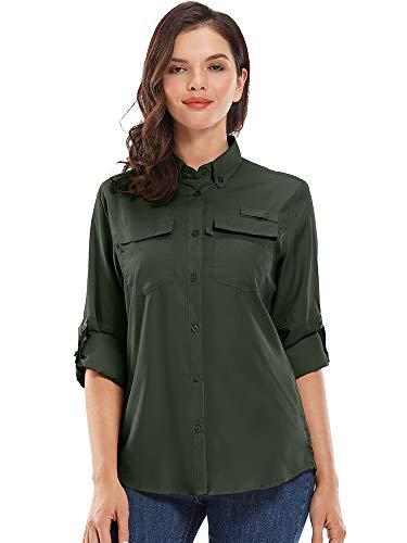 Jessie Kidden Damen-Shirt, langärmlig, UV-Schutz, Sonnenschutz, Wandern, Angeln, Camping, schnelltrocknend Gr. XXL, 5026 Army Green