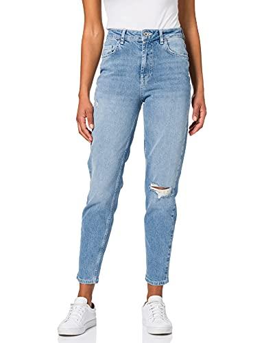 PIECES PCLEAH MOM HW ANK DEST LB110-BA/CP BC Jeans, Mezclilla De Color Azul Claro, XL para Mujer