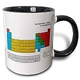 mug_76644_4 'Tavola periodica - Regalo educativo accademico per appassionati di scienza chimica fisica rosso verde blu giallo' Tazza nera bicolore, multicolore