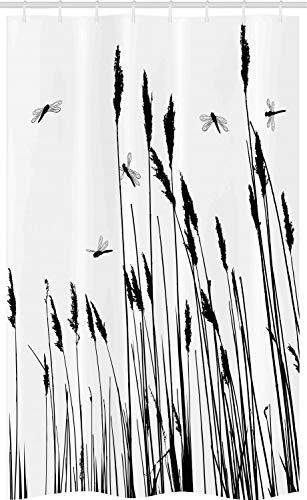 ABAKUHAUS Libelle Schmaler Duschvorhang, Weizen-Feld Herbst, Badezimmer Deko Set aus Stoff mit Haken, 120 x 180 cm, Weiß & Schwarz