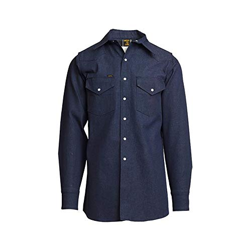 Lapco DS-16-M Heavy-Duty Welder's Shirts, 100% Cotton, 10 oz, 16 Medium, Denim