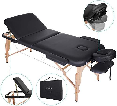 Naipo Massageliege Klappbar Höhenverstellbar Massagetisch Massagebett mit 3 Zonen tragbaren Holzfüßen Einfache Installation Ergonomische Kopfstütze mit Tragetasche (belastbar bis 250kg)