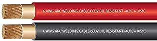 EWCS 6 Gauge Premium Extra Flexible Welding Cable 600 Volt Combo Pack - Black+Red 25 Feet of Each - Made in The USA