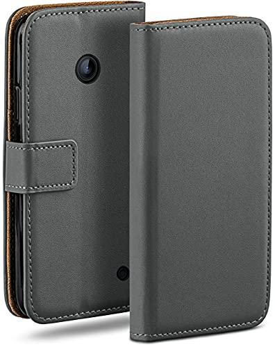 moex Klapphülle kompatibel mit Nokia Lumia 630/635 Hülle klappbar, Handyhülle mit Kartenfach, 360 Grad Flip Hülle, Vegan Leder Handytasche, Dunkelgrau