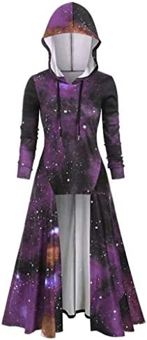 Irregular Parka Overcoat Womens Bandage Hoodies Back Coat Hooded Jacket Outwear Medium Purple product image