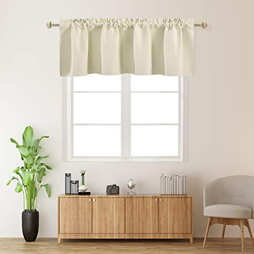 Light Beige Valances for Kitchen 1 Panel Darkening Solid Blackout Cream Valance Curtains for Loft and Nursery Window with Rod Pocket 18 Inch Length for Girls Boys Bedroom Small Window 42 X 18 Inches