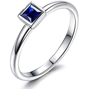 JSFYOU Princess Cut CZ Rings Wedding Party Statement Cocktails Jewelry Sterling Silver Size S 1/2:Deepld