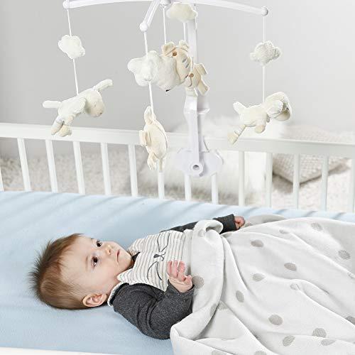 Fehn 154610 Musik-Mobile Schaf – Spieluhr-Mobile mit niedlichen Schafen, Sonnen & Wolken zum Lauschen & Staunen – Zum Befestigen am Bett für Babys von 0-5 Monaten – Höhe: 65 cm, ø 40 cm - 3