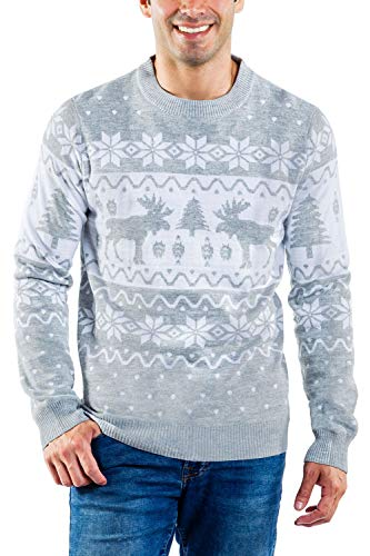 Tipsy Elves Fair Isle Men's Ugly Christmas Sweater Merry Moose Grey Patterend Winter Holiday Pullover Size XL Illinois