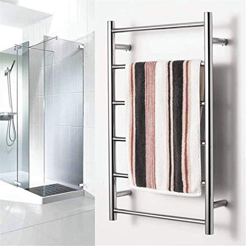 Rieles para toallas con calefacción Calentador de toallas montado en la pared, Estante para toallas de baño de acero inoxidable Estante para secado de toallas con 6 barras térmicas para baño 800x500x1