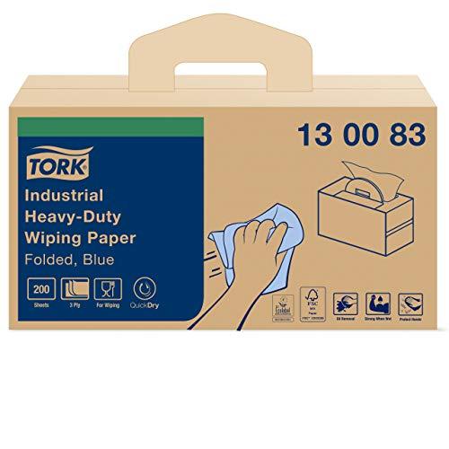 Tork 130083 Extra Starke Industrie Papierwischtücher mit W7 Handy Box System / 3-lagige Papierhandtücher in Blau / Premium Qualität / 1 x tragbare Handy Box / 38,5 x 32,4 cm (B x L)