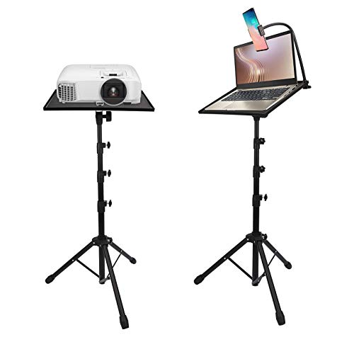 Aluminum Universal Projector Tripod Stand, LUOFUR Adjustable Laptop Stand, Adjustable Height 23'' to 63'' with Tray, Carrying Bag & Cellphone Mount, Suitable for Home Theater, Laptops, DJ Equipment